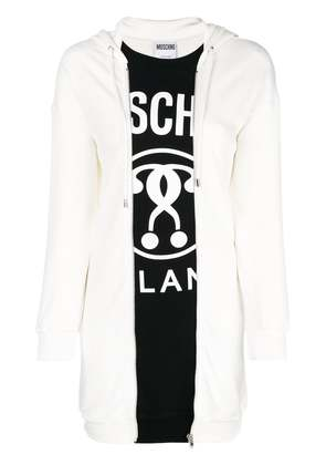 Moschino logo hooded sweater dress - White