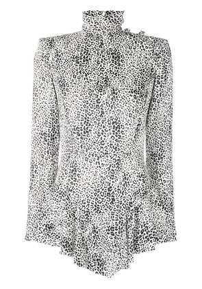 Alessandra Rich asymmetric leopard print dress - White