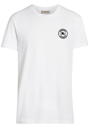 Burberry Embroidered Logo Cotton T-shirt - White