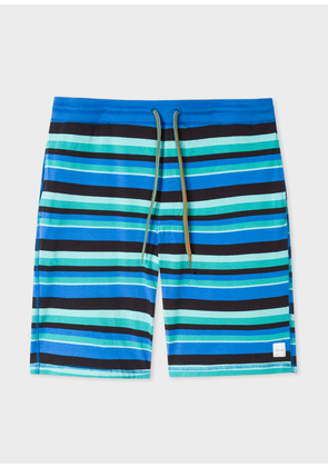 Men's Blue And Green Stripe Jersey Cotton Lounge Shorts