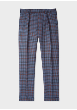Men's Tapered-Fit Navy Plaid Wool Trousers