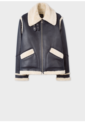Women's Navy Faux Shearling Aviator Jacket With Contrast Trims