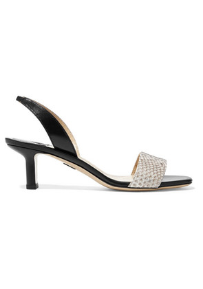 Paul Andrew - Longo Leather And Python Slingback Sandals - Black