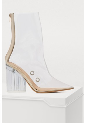 PVC high-heeled ankle boots