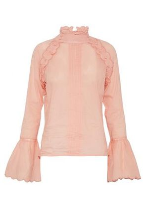 W118 By Walter Baker Woman Scalloped Pintucked Cotton-gauze Shirt Peach Size M
