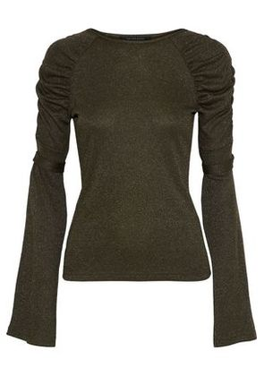 W118 By Walter Baker Woman Lidell Ruched Metallic Knitted Top Army Green Size S