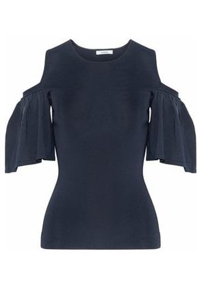Ganni Woman Cold-shoulder Stretch-knit Top Midnight Blue Size S