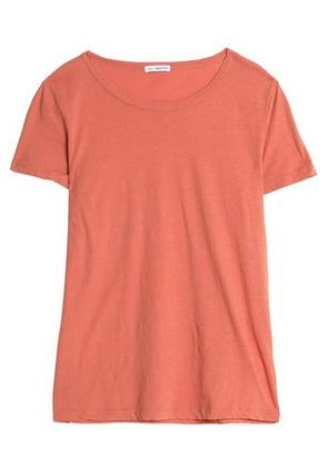 James Perse Woman Printed Cotton-jersey T-shirt Peach Size 2