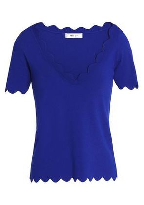 Milly Woman Scalloped Stretch-knit Top Royal Blue Size XS
