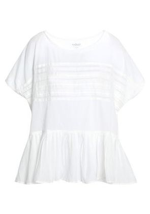 Velvet By Graham & Spencer Woman Madi Open Knit-trimmed Cotton-voile Peplum Blouse Off-white Size XS
