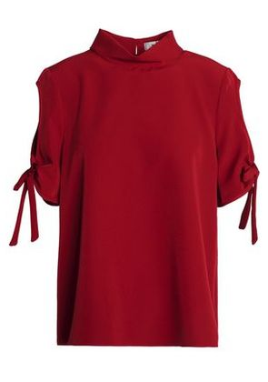 Milly Woman Cold-shoulder Bow-detailed Cady Top Claret Size 12
