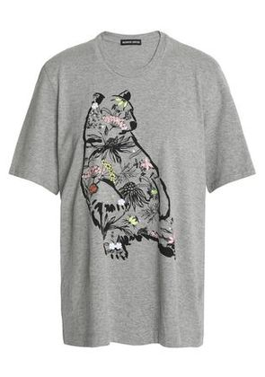 Markus Lupfer Woman Alex Sequin-embellished Printed Cotton-jersey T-shirt Gray Size L