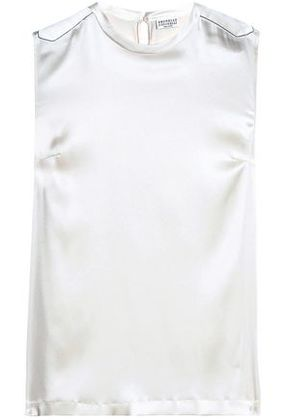 Brunello Cucinelli Woman Bead-embellished Silk-blend Satin Top Ivory Size S