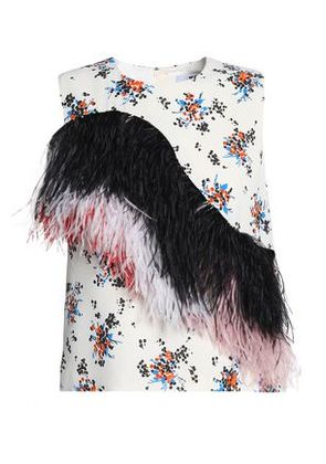 Msgm Woman Feather-trimmed Floral-print Crepe Top Ivory Size 40