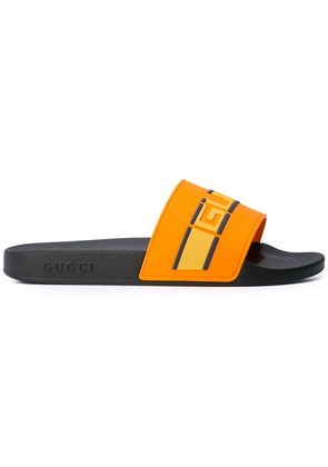 Gucci logo stripe slides - Yellow