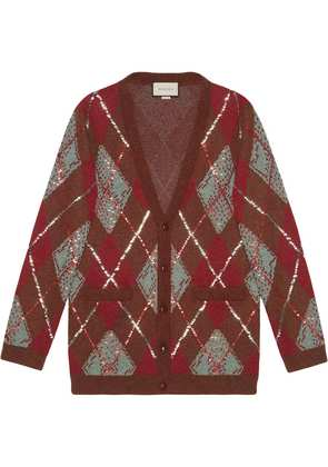Gucci Oversize argyle cardigan - Brown