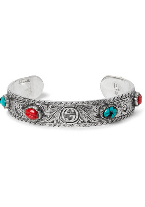 Tiger Head Sterling Silver Turquoise Cuff