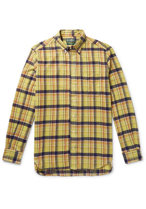Gitman Vintage - Button-down Collar Checked Brushed Cotton-flannel Shirt - Yellow