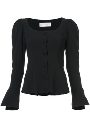 Christian Siriano puff sleeved button jacket - Black