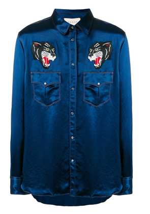 Gucci embroidered wolves satin shirt - Blue