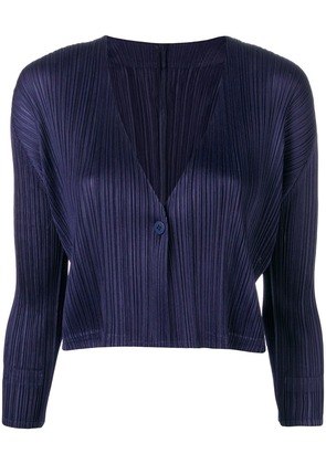 Pleats Please By Issey Miyake button front cardigan - Blue