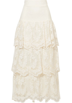 Brock Collection - Sasi Tiered Embroidered Tulle Maxi Skirt - Ivory