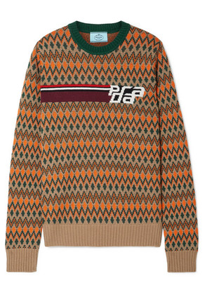 Prada - Intarsia Wool And Cashmere-blend Sweater - Beige