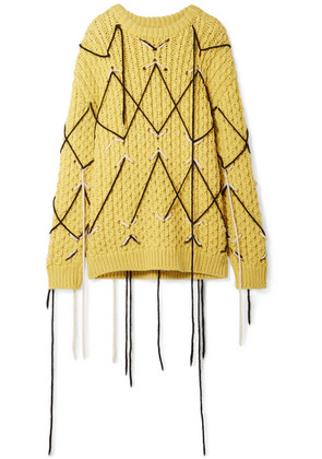 CALVIN KLEIN 205W39NYC - Embroidered Wool And Mohair-blend Sweater - Yellow