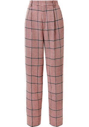 Gucci - Prince Of Wales Checked Wool-blend Wide-leg Pants - Red