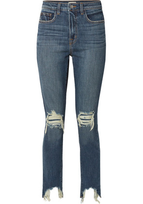 L'Agence - High Line Cropped Distressed Skinny Jeans - Mid denim