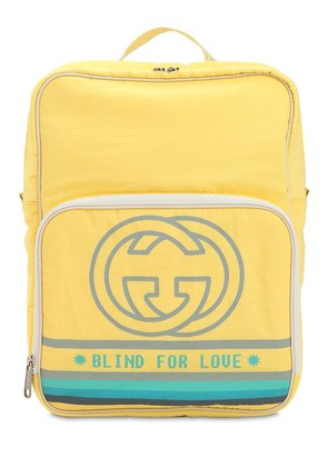 GG LOGO PRINTED NYLON BACKPACK