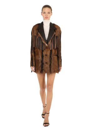 BAMBOO FRINGED LEATHER JACKET