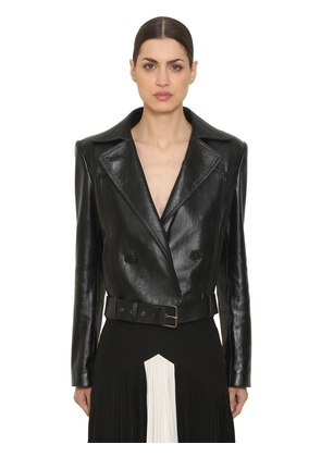 DOUBLE BREASTED LEATHER BIKER JACKET