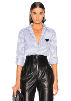 Comme Des Garcons PLAY Broad Stripe Cotton Button Down in Blue,Stripes,White