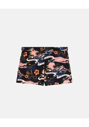 Stella McCartney Black Short-Length Hawaii Print Swim Shorts, Men's, Size 32