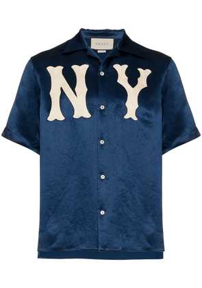Gucci GG NY Yankees bowling shirt - Blue