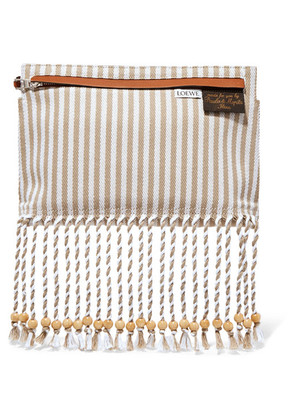 Loewe - Striped Cotton-canvas And Textured-leather Pouch - Beige