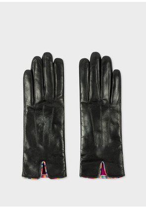 Women's Black Leather Gloves With 'Swirl' Piping