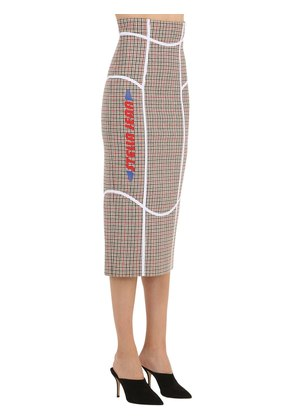 PRINTED WOOL BLEND CHECK PENCIL SKIRT