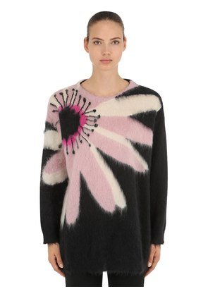 OVERSIZED INTARSIA MOHAIR KNIT SWEATER