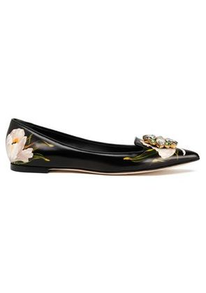 Dolce & Gabbana Woman Crystal-embellished Floral-print Leather Point-toe Flats Black Size 35
