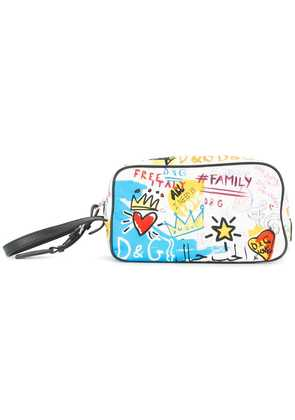Dolce & Gabbana graffiti print wash bag - White