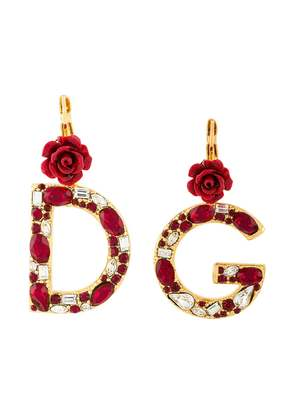 Dolce & Gabbana crystal rose-embellished DG earrings - Metallic