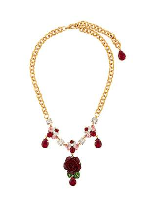 Dolce & Gabbana crystal rose necklace - Metallic