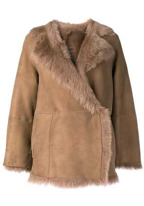 Desa 1972 shearling-trim coat - Brown