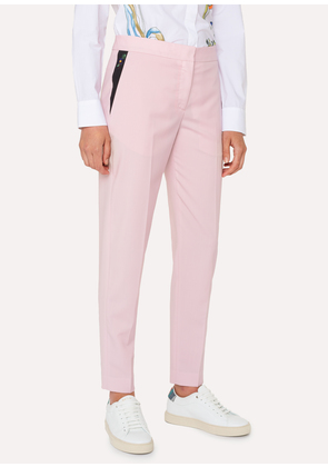 Women's Classic-Fit Light Pink Wool-Mohair Trousers With Embroidered Pocket