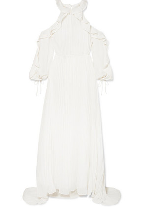 Self-Portrait - Cold-shoulder Ruffled Pleated Chiffon Gown - Ivory