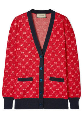 Gucci - Intarsia Wool And Alpaca-blend Cardigan - Red