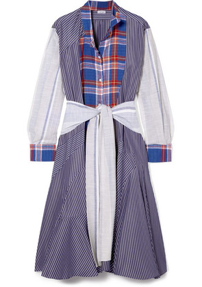 Loewe - Tie-front Patchwork Cotton Midi Dress - Blue