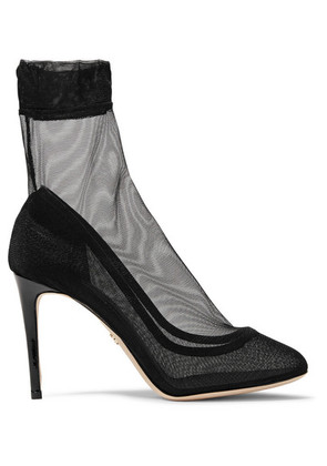 Dolce & Gabbana - Leather-trimmed Stretch-tulle Sock Boots - Black